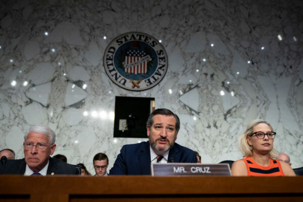 (L-R) Commerce Committee chairman Sen. Roger Wicker (R-MS), subcommittee chairman Sen. Ted Cruz (R-TX) and subcommittee ranking member Sen. Krysten Sinema (D-AZ) attend a Senate Commerce Subcommittee on Aviation and Space hearing about the current state of airline safety in the Hart Senate Office Building, March 27, 2019 in Washington, DC. (Drew Angerer/Getty Images)