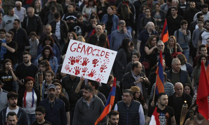 Lebanese Armenians rally with flags and placards in the capital Beirut on April 24, 2019, to commemorate the 104th anniversary of the mass killings of Armenians under the Ottoman Empire in 1915. (Joseph Eid/AFP/Getty Images)