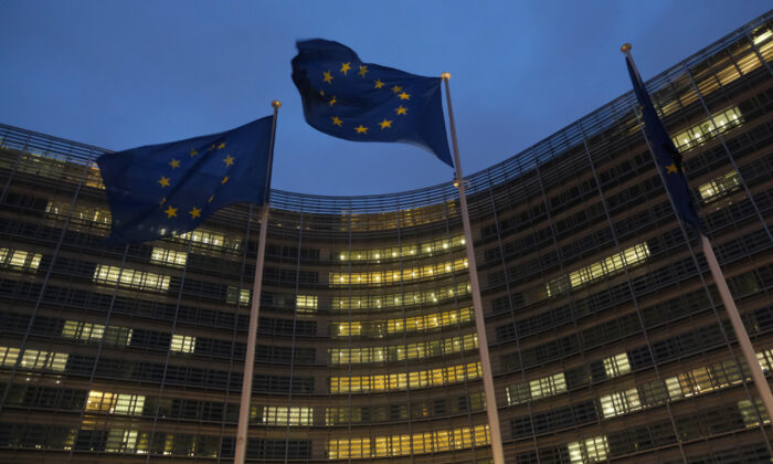 Flags of the European Union fly outside the Berlaymont building of the European Commission in Brussels, Belgium on Oct. 16, 2019. (Sean Gallup/Getty Images)