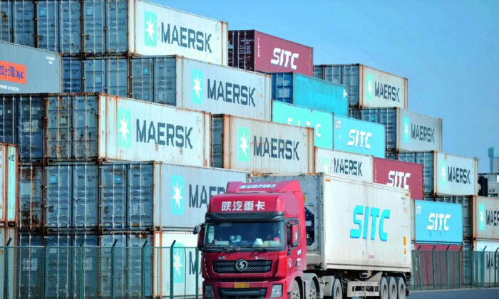 Containers stacked at the port in Qingdao, in China's eastern Shandong province, on Oct. 14, 2019. (STR/AFP via Getty Images)