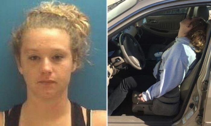 Erika Hurt in a police photo and viral photo after her overdose (Town of Hope Police Department)