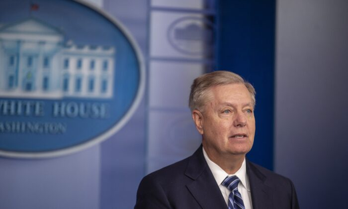 Sen. Lindsey Graham (R-S.C.) speaks to the media after President Donald Trump delivered remarks on the death of ISIS leader Abu Bakr al-Baghdadi, at the White House in Washington on Oct. 27, 2019. (Tasos Katopodis/Getty Images)