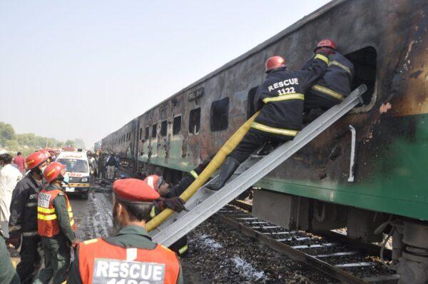 Fire on train in Pakistan