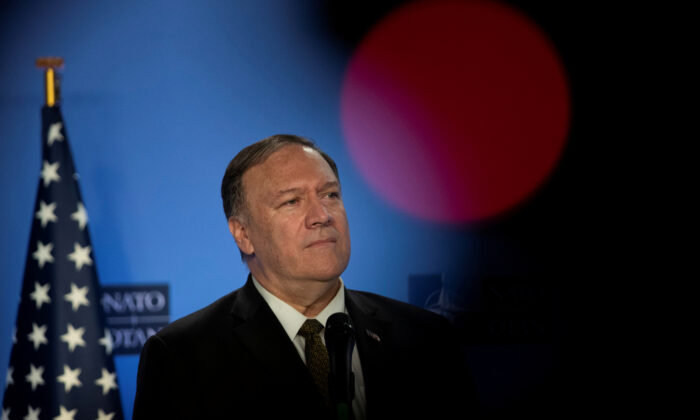 U.S. Secretary of State Mike Pompeo is pictured at NATO headquarters in Brussels, Belgium on Oct. 18, 2019. (Francisco Seco//Pool via Reuters)