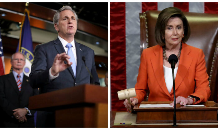 House Minority Leader Kevin McCarthy (R-Calif.) and House Speaker Nancy Pelosi (D-Calif.) in file photos. (Chip Somodevilla/Getty Images; Win McNamee/Getty Images)