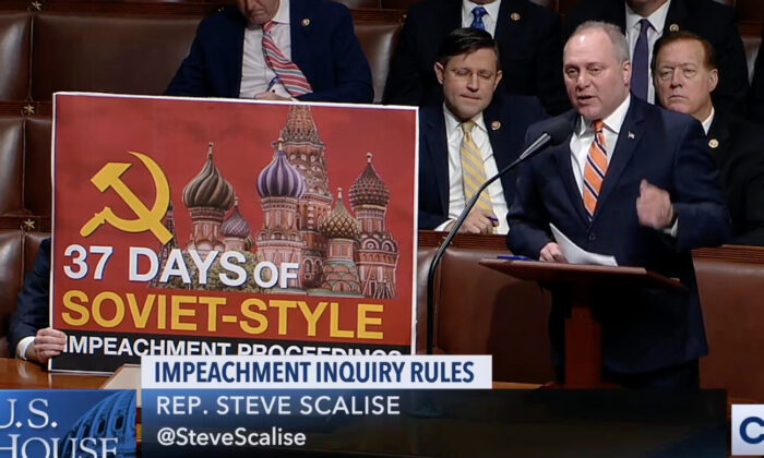 """Rep. Steve Scalise (R-La.) described the House Democrats' inquiry into impeaching President Donald Trump as """"Soviet-style,"""" on Oct. 31, 2019. (CSPAN)"""