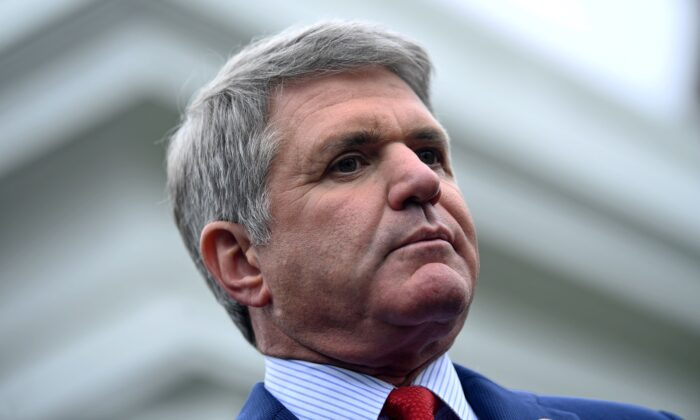 Representative Michael McCaul speaks with the media after meeting with US President Donald Trump to discuss the situation with Turkey at the White House in Washington on Oct. 16, 2019. (BRENDAN SMIALOWSKI/AFP via Getty Images)