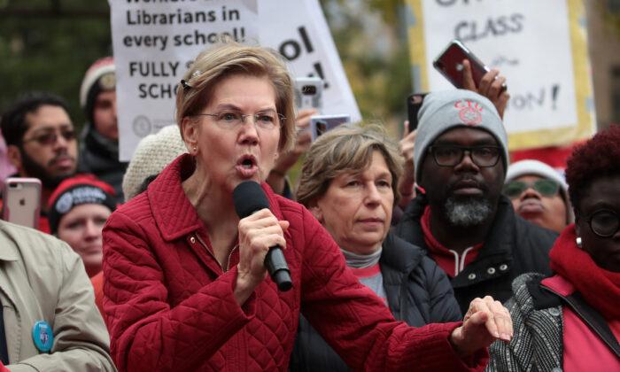 Democratic presidential candidate Sen. Elizabeth Warren visits with striking Chicago teachers in Chicago, Illinois on Oct. 22, 2019  (Scott Olson/Getty Images)