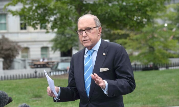 Larry Kudlow, Director of the National Economic Council, speaks to the press at the White House in Washington, on Oct. 5, 2018. (Nicholas Kamm/AFP via Getty Images)