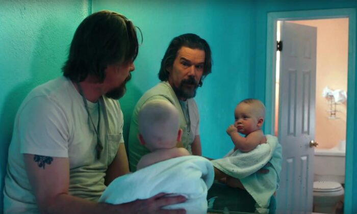"Ethan Hawke finds a mission in life after finding an abandoned baby (Savannah Sucher) in ""Adopt a Highway."" (Blumhouse Productions)"