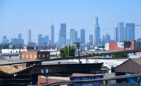 The downtown skyline of Los Angeles is pictured