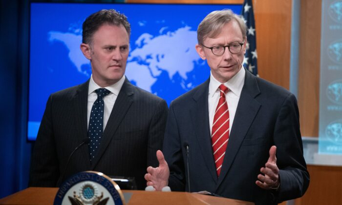 Brian Hook (R), U.S. Special Representative for Iran, and Ambassador Nathan Sales (L), State Department Coordinator for Counterterrorism, speak during a press conference at the State Department in Washington on April 8, 2019. (Saul Loeb/AFP via Getty Images)