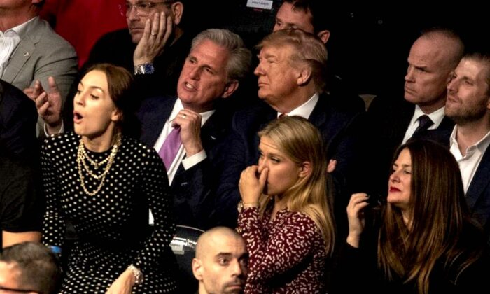 President Donald Trump and House Minority Leader Kevin McCarthy (D-Calif.) look on during UFC 244 at Madison Square Garden, in New York ON Nov. 2, 2019. (Evan Vucci/AP Photo)