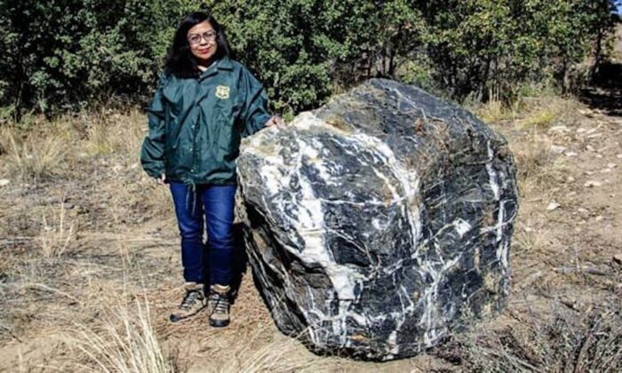 "A 1-ton boulder, known to the locals as the ""Wizard Rock,"" in Arizona's Prescott National Forest. (Courtesy of US Forest Service/Prescott National Forest via Facebook)"