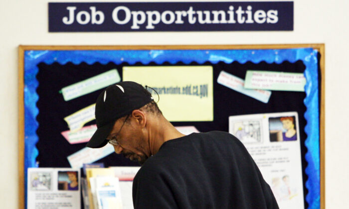 A job seeker looks at job listings posted at the East Bay Works One-Stop Career Center April 17, 2009 in Oakland, Calif.. (Justin Sullivan/Getty Images)