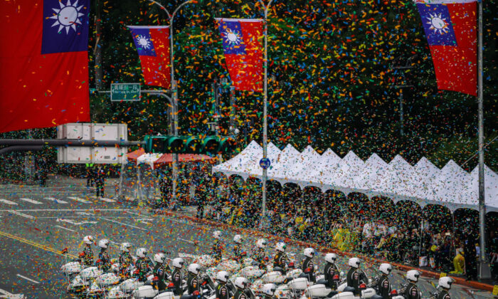 Military police stand in front of the Presidential Palace to mark the island's National Day celebrations in Taipei, Taiwan, on Oct. 10, 2018. (Billy H.C. Kwok/Getty Images)