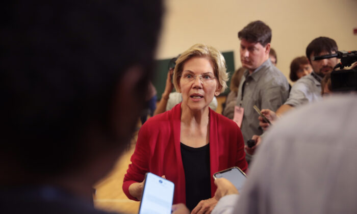 Democratic presidential candidate Sen. Elizabeth Warren (D-Mass.) speaks to the press during a campaign stop at Hempstead High School in Dubuque, Iowa on Nov. 2, 2019. (Scott Olson/Getty Images)