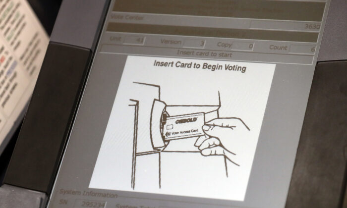 A touch screen of a voting machine during early voting in Sandy Springs, Ga., on May 9, 2018. (John Bazemore/AP Photo)