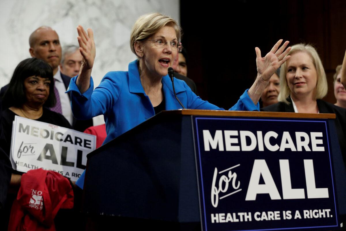 Elizabeth Warren speaks during an event