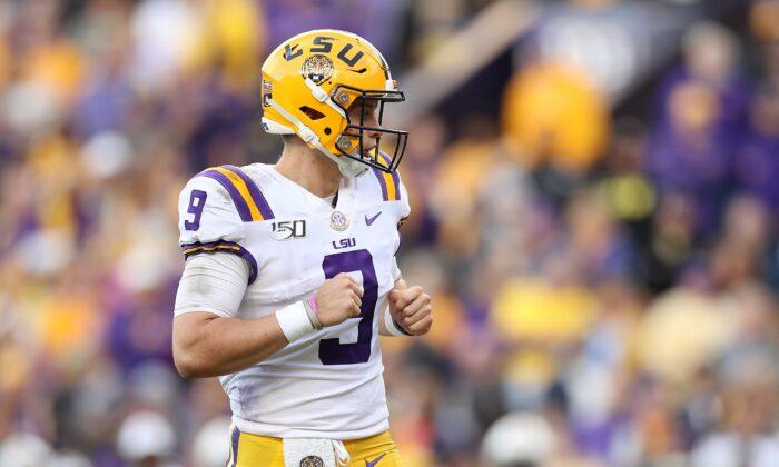 Lousiana State University quarterback Joe Burrow during a game against Aurburn in Baton Rouge, Louisiana, on Oct. 26, 2019. (Chris Graythen/Getty Images)