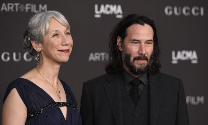 Alexandra Grant and Keanu Reeves attend the 2019 LACMA 2019 Art + Film Gala in Los Angeles, California on Nov 2, 2019. (Frazer Harrison/Getty Images)