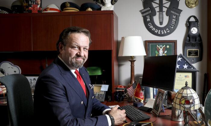 Dr. Sebastian Gorka, conservative radio host of America First, at his office at Salem Radio Network in Arlington, Va., on Oct. 22, 2019. (Samira Bouaou/The Epoch Times)