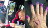 First Responders Arrive at Accident and Calm Down Screaming Girl by Letting Her Paint Their Nails