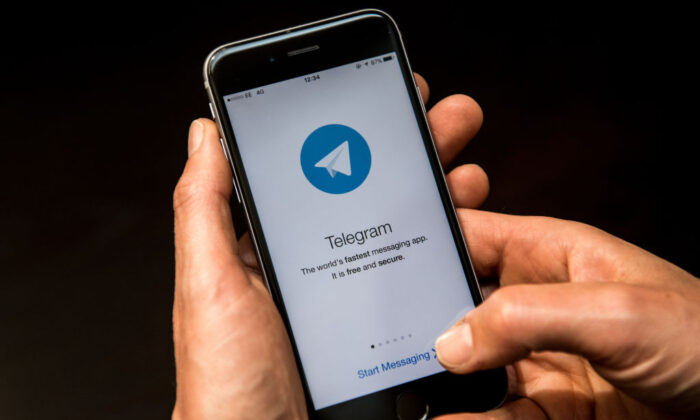 A close-up view of the Telegram messaging app is seen on a smart phone in London, UK, on May 25, 2017. (Carl Court/Getty Images)