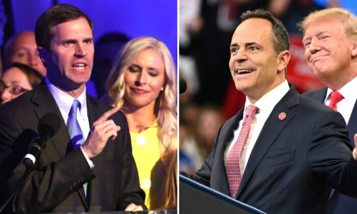 (L) Apparent Gov.-elect Andy Beshear speaks to supporters after voting results showed the Democrat holding a slim lead over Gov. Matt Bevin at C2 Event Venue on Nov. 5, 2019 in Louisville, Ky. (John Sommers II/Getty Images)  (R) U.S. President Donald Trump smiles behind Kentucky Governor Matt Bevin during a rally at Rupp Arena in Lexington, Ky on Nov. 4, 2019. (Mandel Ngan/AFP via Getty Images)