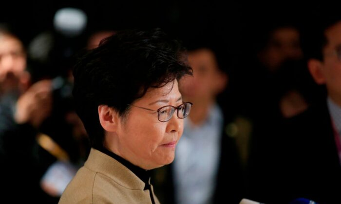 Hong Kong leader Carrie Lam attends a news conference ahead of a Hong Kong Chamber of Commerce dinner in Shanghai on Nov. 5, 2019. (Aly Song/AFP via Getty Images)
