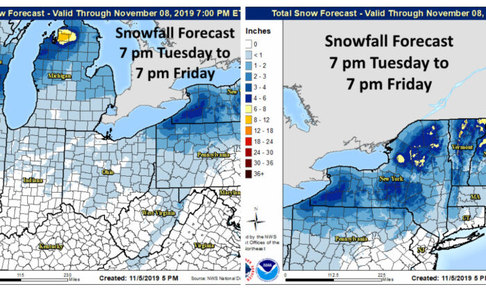 A winter-like mass of cold air is going to inundate the Midwest and Northeast regions of the United States, bringing measurable snowfall totals, according to forecasters. (NWS Twitter)