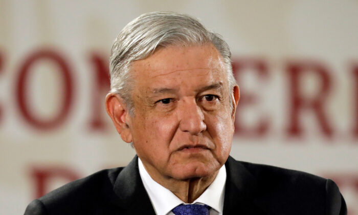 Mexico's President Andres Manuel Lopez Obrador looks on during his daily news conference at National Palace in Mexico City, Mexico on Nov. 6, 2019. (Luis Cortes/Reuters)