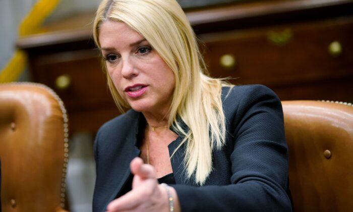 Florida Attorney General Pam Bondi speaks during a meeting with President Donald Trump and state and local officials on school safety in the Roosevelt Room of the White House in Washington on Feb. 22, 2018. (Mandel Ngan/AFP via Getty Images)