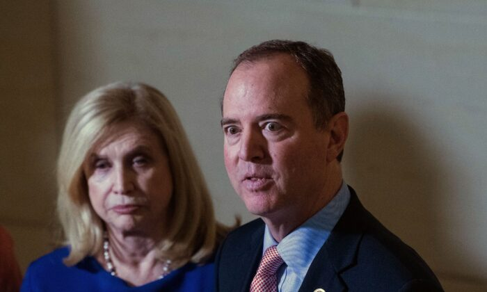House Intelligence Committee Chairman Adam Schiff (D-Calif.) speaks to the press with acting House Oversight Chairwoman Carolyn Maloney (D-N.Y.) at the U.S. Capitol in Washington on Nov. 6, 2019. (Nicholas Kamm/AFP via Getty Images)