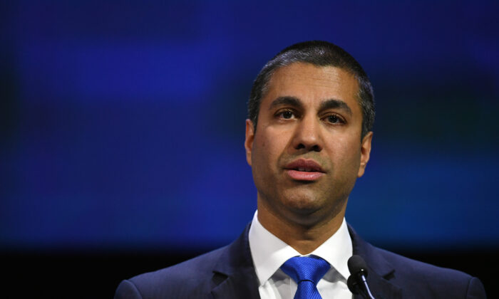 Federal Communications Commission Chairman Ajit Pai speaks during NAB show's We are Broadcasters Celebration at the Las Vegas Convention Center on April 10, 2018 in Las Vegas, Nevada. (Ethan Miller/Getty Images)