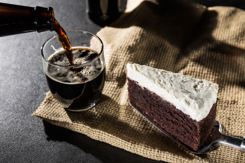 chocolate cake and black beer