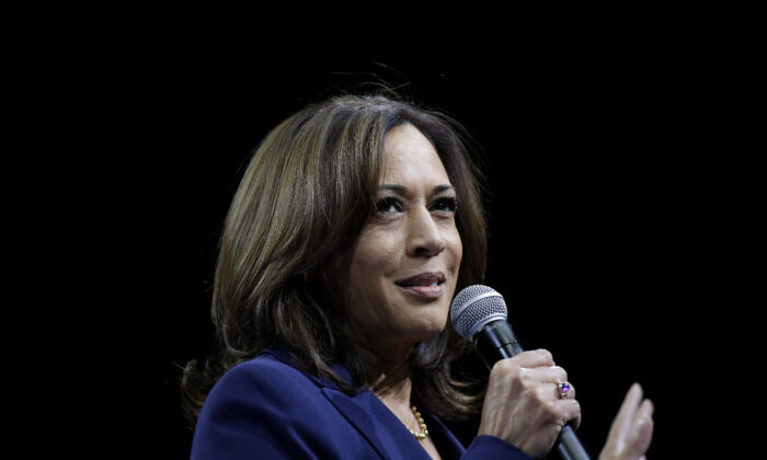 Democratic presidential contender Sen. Kamala Harris (D-Calif.) speaks during The Iowa Democratic Party Liberty & Justice Celebration in Des Moines, Iowa, on Nov. 1, 2019. (Joshua Lott/Getty Images)