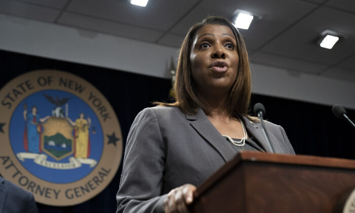New York Attorney General Letitia James speaks during a press conference in New York City on June 11, 2019.  (Drew Angerer/Getty Images)