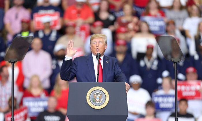 "President Donald Trump speaks during a ""Keep America Great"" rally at the Monroe Civic Center in Monroe, Louisiana on Nov. 6, 2019. (Matt Sullivan/Getty Images)"