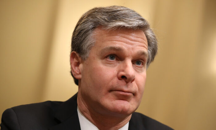 FBI Director Christopher Wray testifies before the House Homeland Security Committee in the Cannon House Office Building on Capitol Hill in Washington on Oct. 30, 2019. (Chip Somodevilla/Getty Images)
