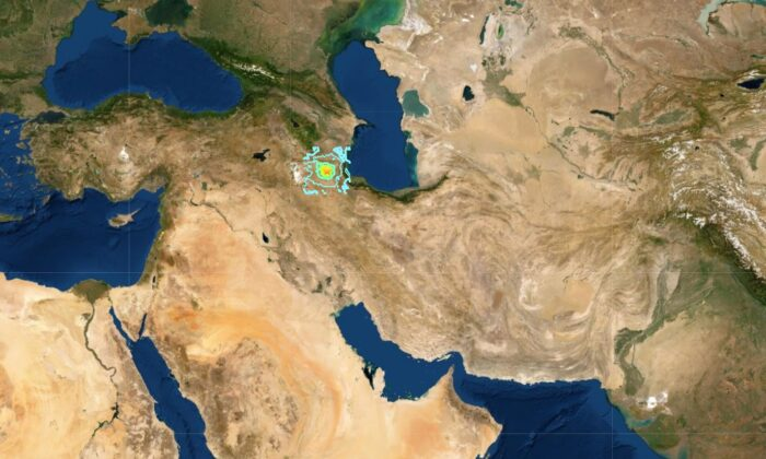 Magnitude 5.9 earthquake strikes NE of Hashtrud, Iran. (USGS)