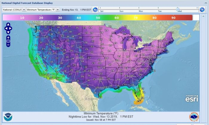 National Weather Service forecast depicting the low temperatures across the United States for Tuesday, Nov. 12. (Image: National Weather Service)