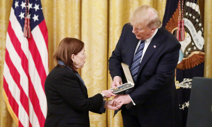 President Donald Trump presented the Presidential Citizens Medal posthumously to Richard (Rick) Cyril Rescorla who helped save the lives of nearly 2,700 people at the World Trade Center on the morning of Sept. 11, 2001 on Nov. 7, 2019. (Alex Wong/Getty Images)