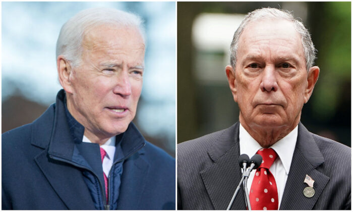 L: Democratic presidential candidate, Former Vice President Joe Biden speaks during a rally at the New Hampshire State House in Concord, New Hampshire on Nov. 8, 2019. (Scott Eisen/Getty Images) R: Former Mayor of New York Michael Bloomberg speaks in the Manhattan borough of New York, New York, on May 30, 2019. (Reuters/Carlo Allegri)