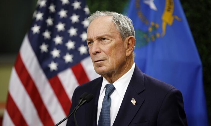 Former New York City Mayor Michael Bloomberg speaks at a news conference at a gun control advocacy event in Las Vegas, Nevada on Feb. 26, 2019. (John Locher, File/AP Photo)