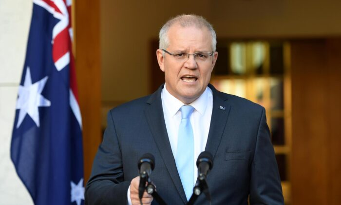Australian Prime Minister Scott Morrison talks to the media at a press conference at Parliament House in Canberra, Australia on April 11, 2019. (Tracey Nearmy/Getty Images)