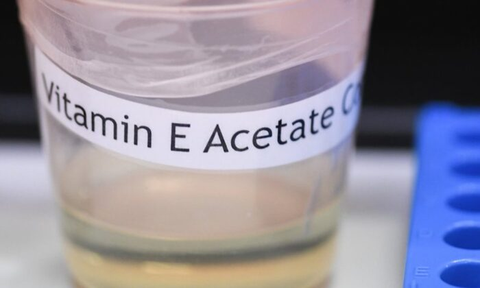 A vitamin E acetate sample during a tour of the Medical Marijuana Laboratory of Organic and Analytical Chemistry at the Wadsworth Center in Albany, N.Y., on Nov. 8, 2019. (Hans Pennink/AP)