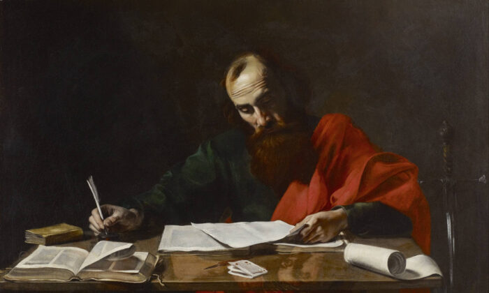 "St. Paul is believed to have written his epistles from a prison cell in Rome. ""Saint Paul Writing His Epistles,"" circa 1618–1620, attributed to Jean Valentin