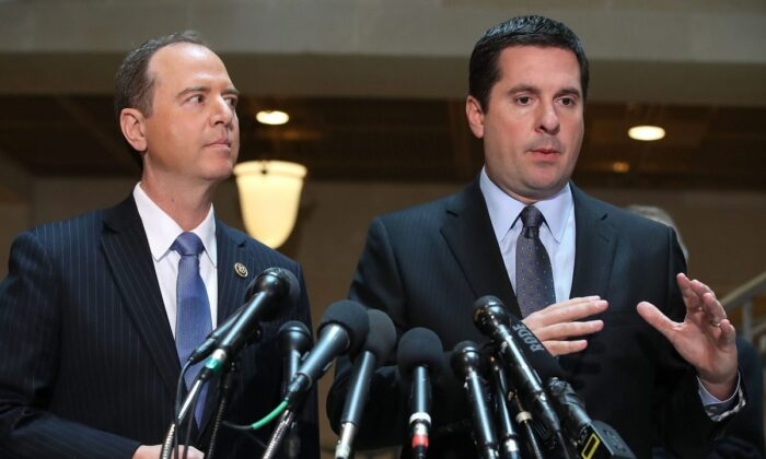 Then-House Intelligence Committee Chairman Devin Nunes (R-Calif.) and Rep. Adam Schiff (D-Calif.) speak to the media about committee's investigation into Russian interference in the 2016 presidential election, at the U.S. Capitol in Washington on March 15, 2017. (Mark Wilson/Getty Images)