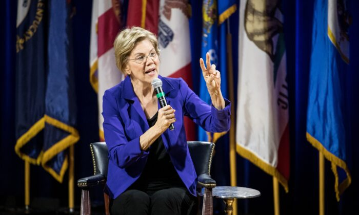Democratic presidential candidate Sen. Elizabeth Warren (D-Mass.) addresses the audience at the Environmental Justice Presidential Candidate Forum at South Carolina State University on Nov. 8, 2019. (Sean Rayford/Getty Images)